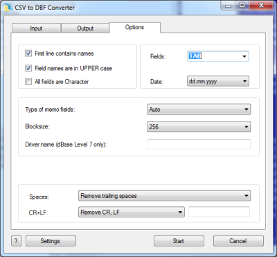 CSV to DBF Converter