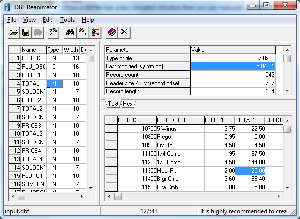 Click to view DBF Reanimator 1.05 screenshot