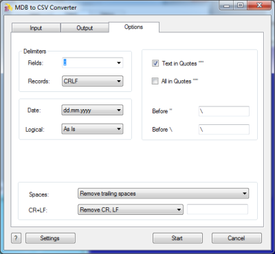Click to view MDB to CSV Converter 3.30 screenshot