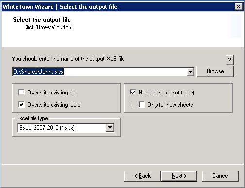 Allows you to convert MDB files to XLS format
